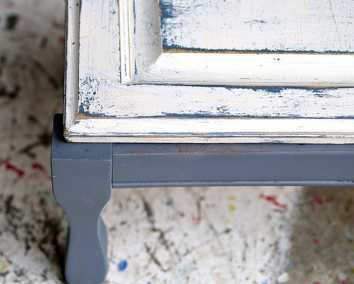 distressed white paint