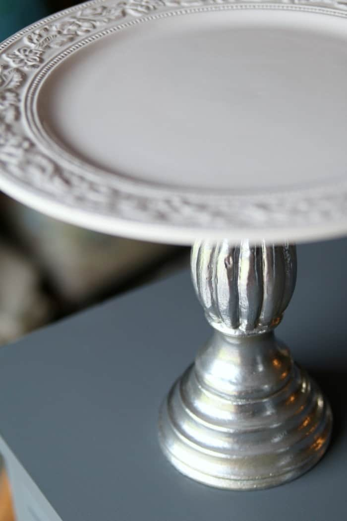 diy platter from candlestick and white dinner plate