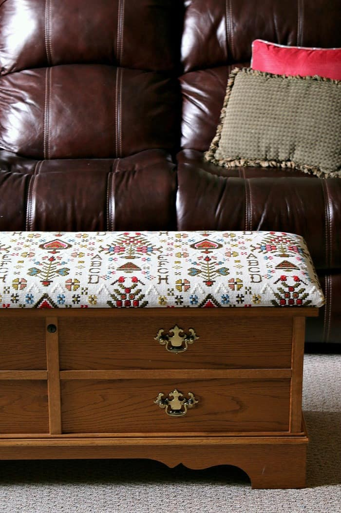 how to cover a Lane Cedar Chest with new fabric