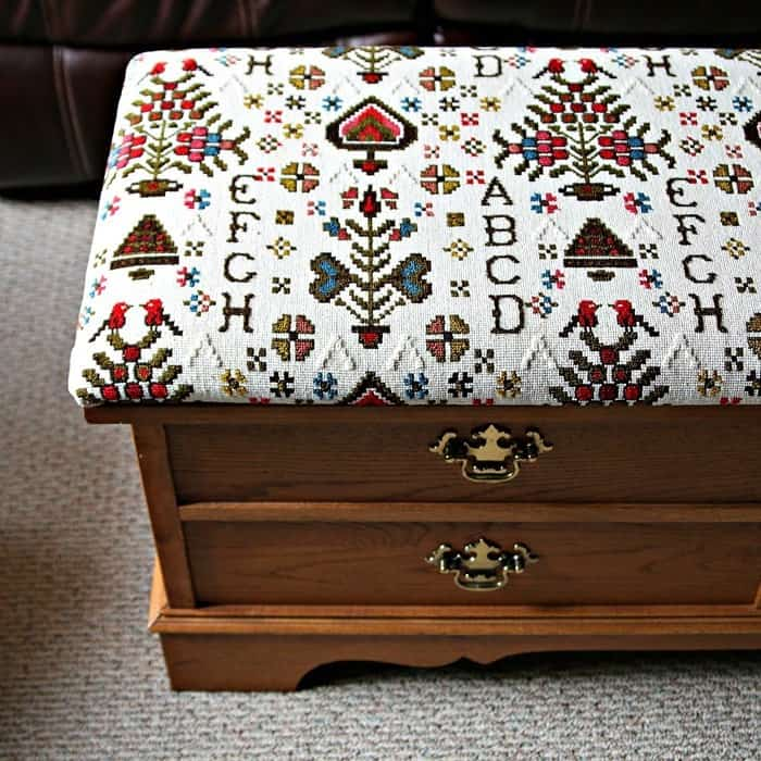 how to recover the top of a Lane Cedar Chest
