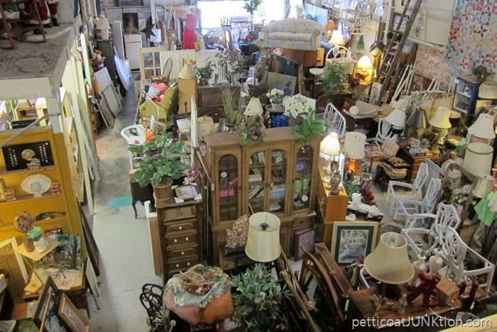 looking over the balcony at The Blue Building Antiques