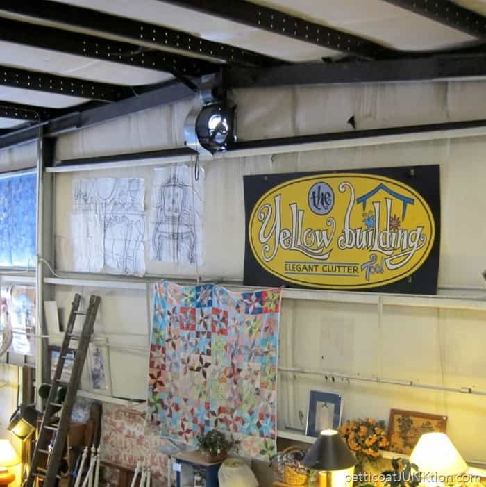 metal sign at The Blue Building Antiques