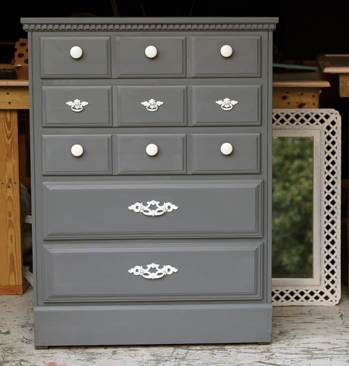 Painting wood furniture pewter gray modern white petticoat junktion Spray paint for wood furniture