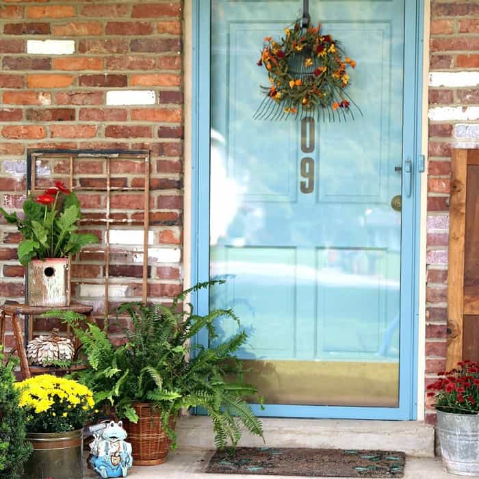 Fall Rake Wreath And Wood Birdhouse Flower Container