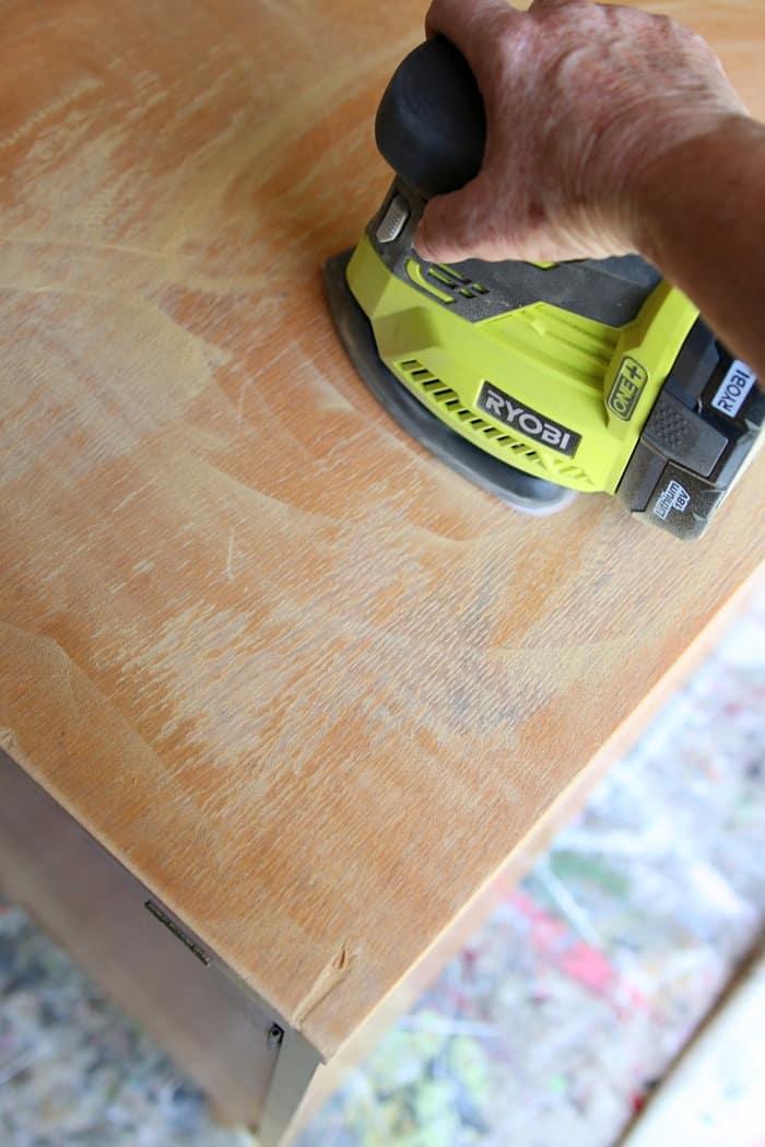 sanding rough spots