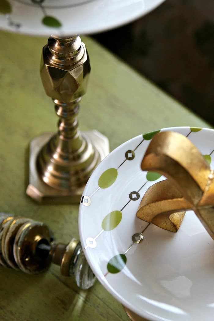 serving platters or display stands made from Pier1 salad plates and brass candlesticks