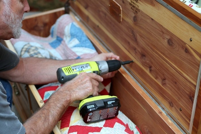 using drill to replace top on Lane cedar chest