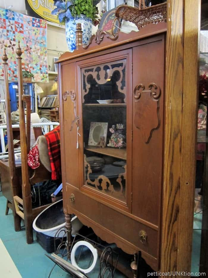 vintage glass door front china hutch at The Blue Building Antiques
