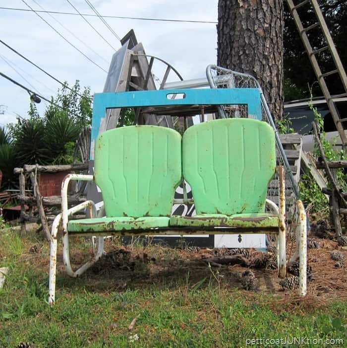 vintage green glider outdoor furniture at The Blue Building Antiques