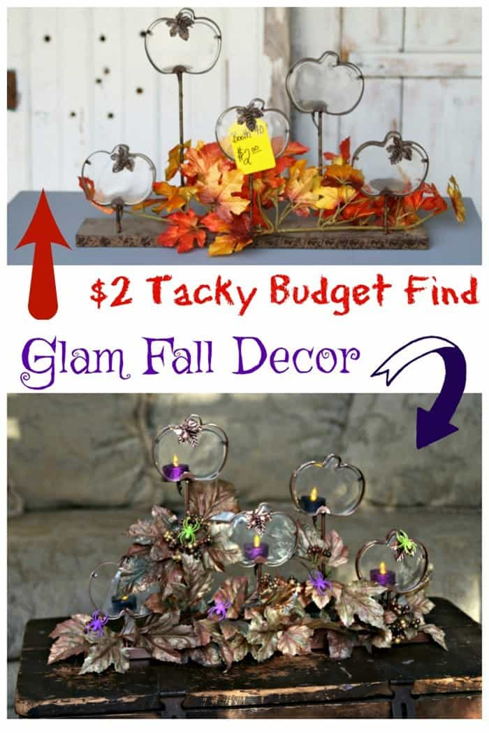 Budget find becomes glam Fall decor with spray paint and purple glitter tealights