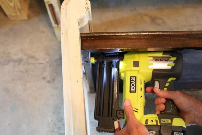 attaching bench seat to sides with Ryobi Airstrike nailer