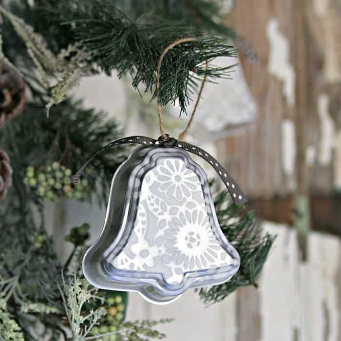handmade silver bell ornament