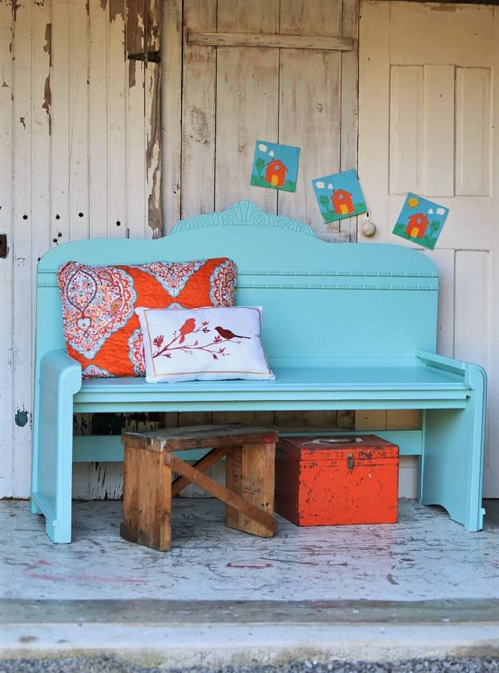 how to make a headboard bench using a vintage waterfall bed headboard and footboard