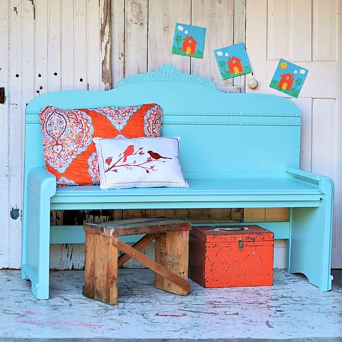 how to make a headboard bench using a vintage waterfall bed