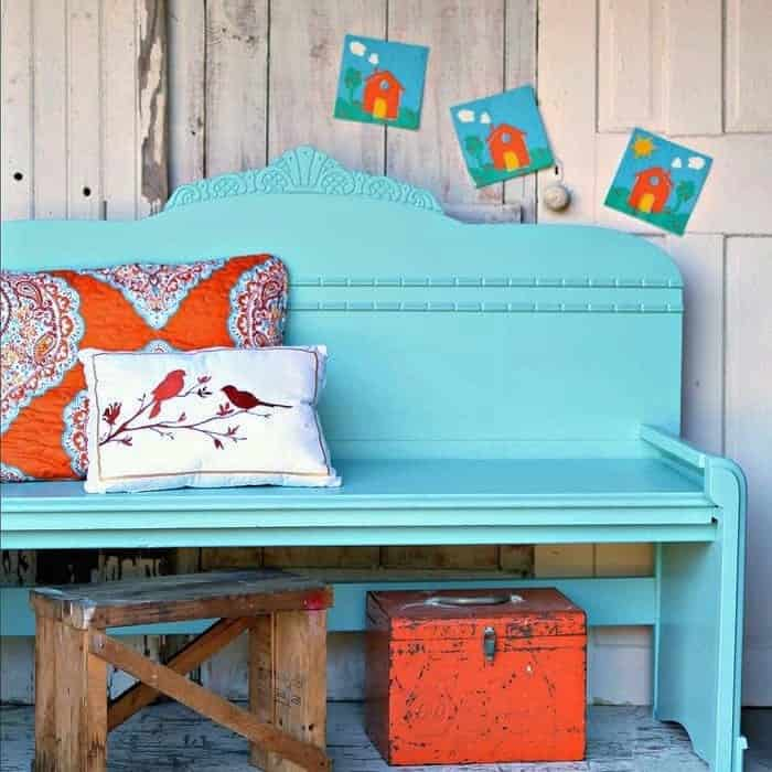 how to paint a diy headboard bench