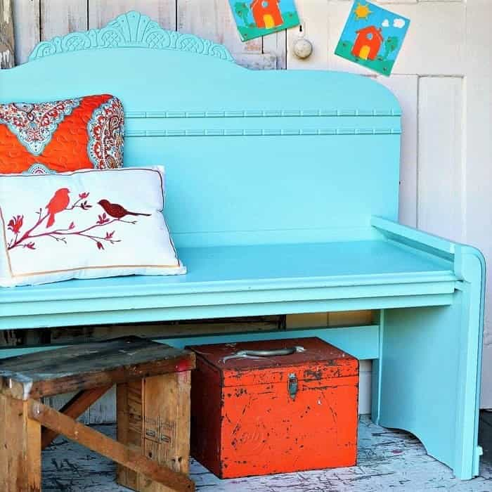 make a bench using a vintage bed headboard and footboard