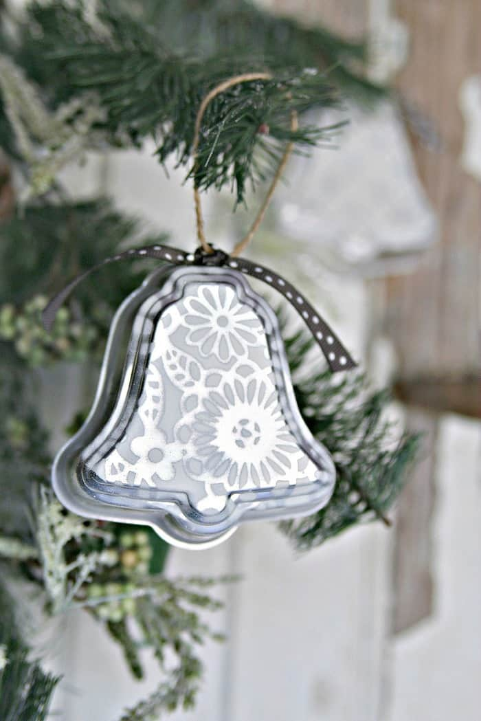 silver bell Christmas Ornament handmade by Petticoat Junktion 1