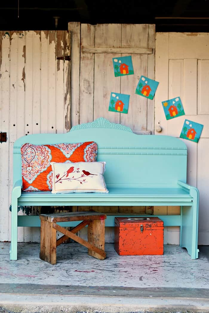turquoise painted headboard bench