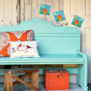 wrong paint color first time around but the turquoise is perfect for the headboard bench