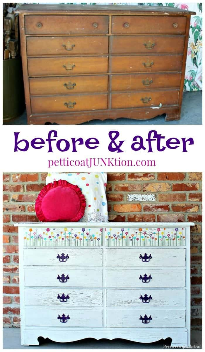 Paint a dresser white and stencil pretty blooming flowers on the drawers