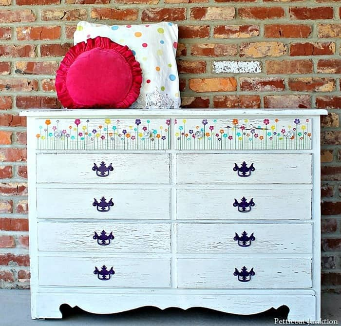 Purple Paint And Blooming Flowers for this dresser painted white
