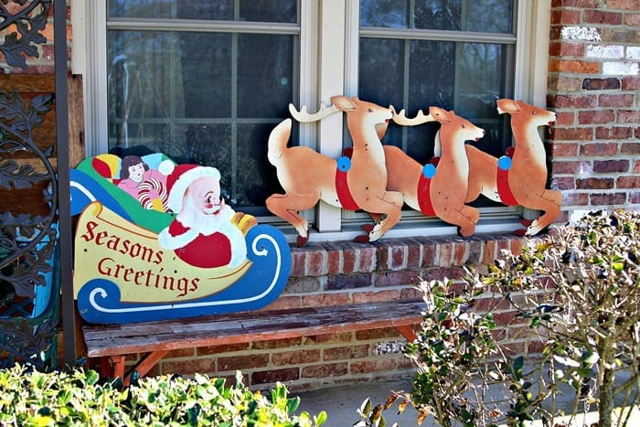 Santa and his sled decor found at the Nashville Flea Market