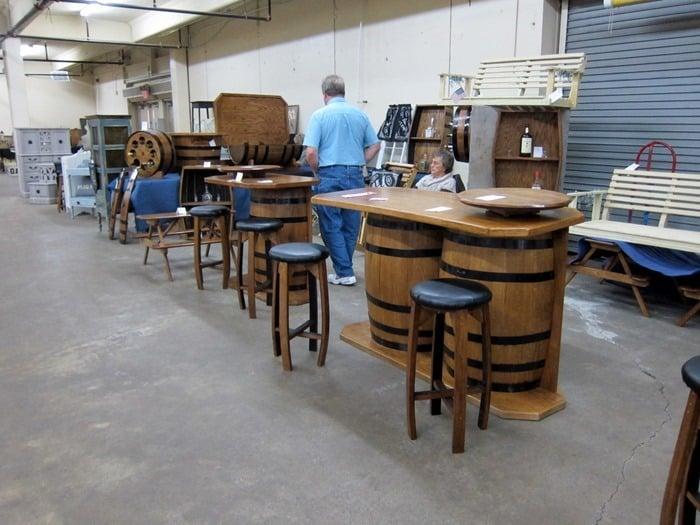 barrel tables at the Nashville Flea Market
