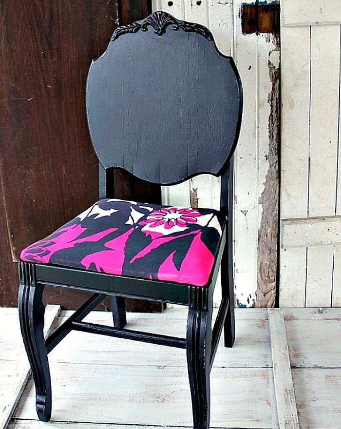 black chair seat covered with recycled shirt
