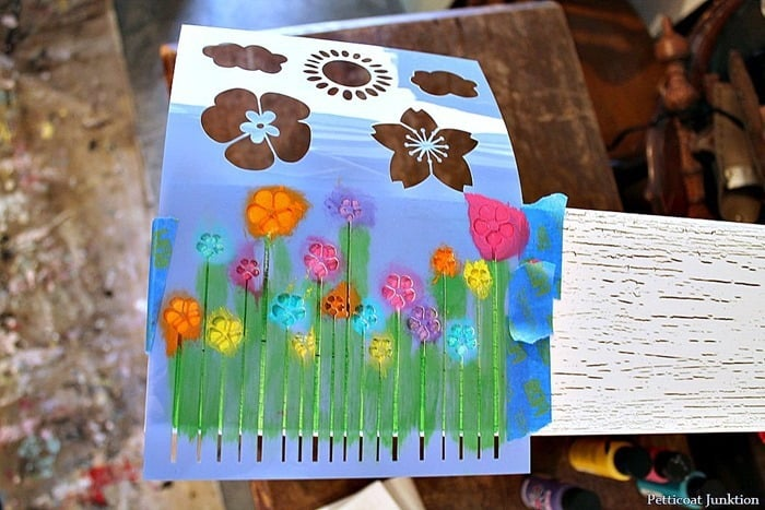 blooming flowers stencil