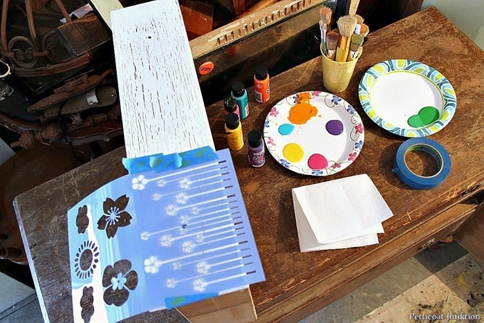 mylar stencils and acrylic paints for stencil project blooming flowers