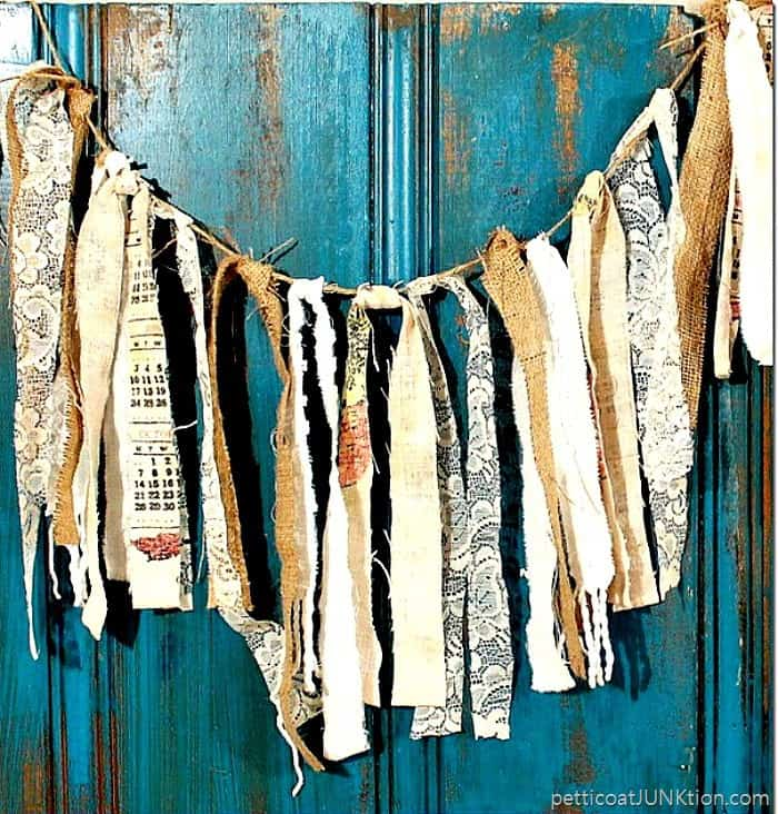 rag garland from thrift store donation bag