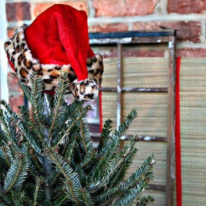 how to make a santa hat tree topper