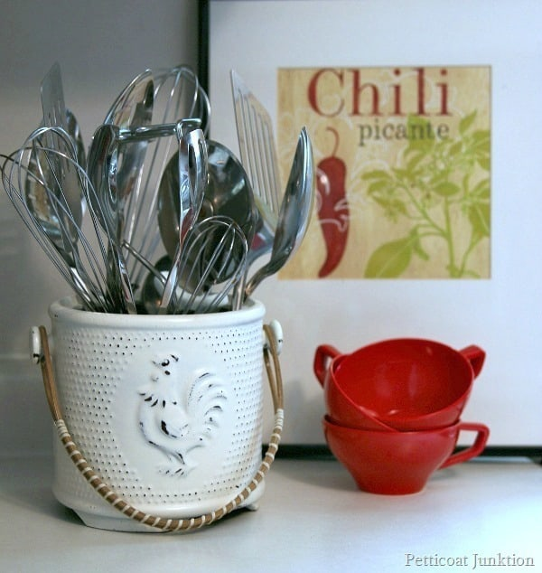kitchen utensil makeover, rooster container