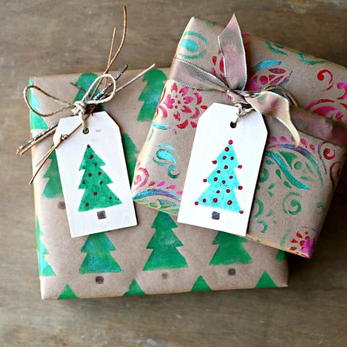 stencil brown kraft paper for gift wrap using stencils and bold paint colors