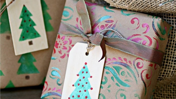 stencil gift tags