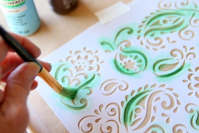 stenciling a paisley design