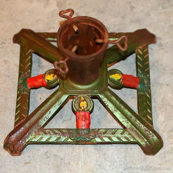 Antique Iron Christmas Tree Stand And More Vintage Ornaments