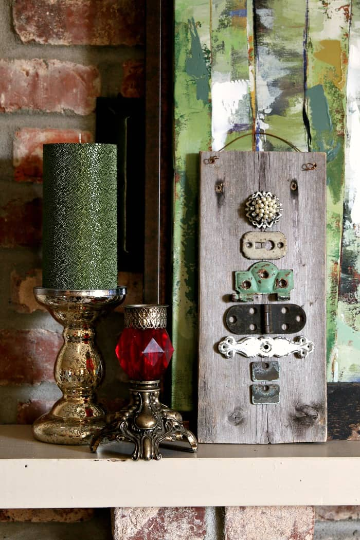 Christmas tree wall decor made from reclaimed and upcycled items by Petticoat Junktion