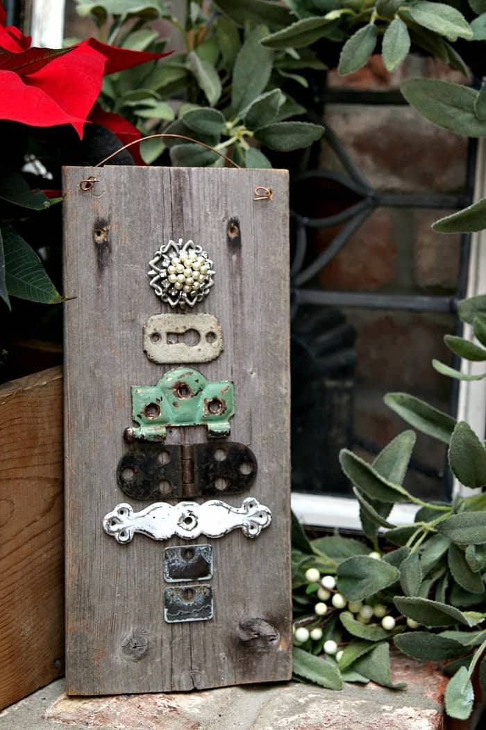 Make a Christmas tree using drawer pulls and reclaimed jewelry