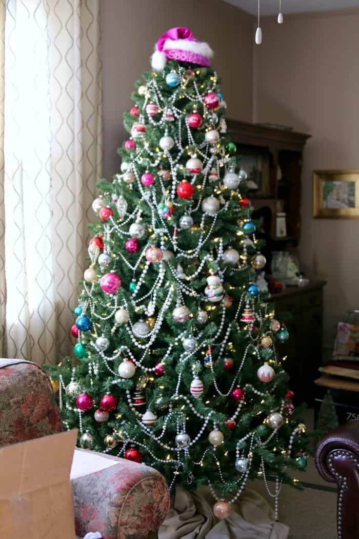 decorated tree with Shiny Brite Christmas ornaments