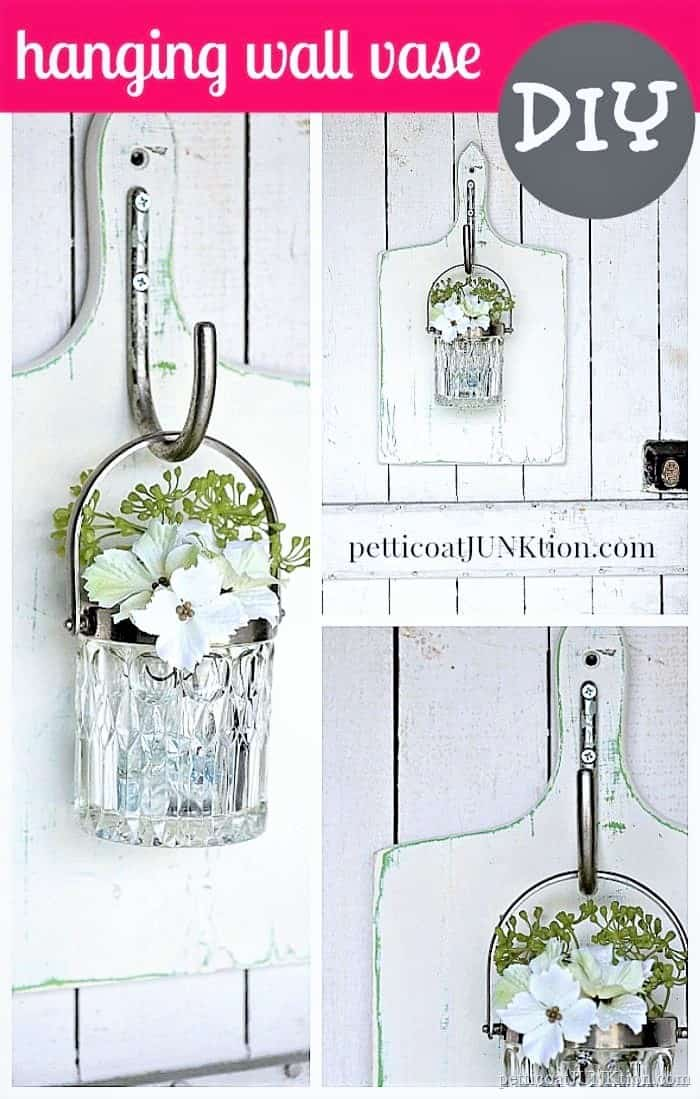 hanging glass wall vase made from 2 thrift store finds