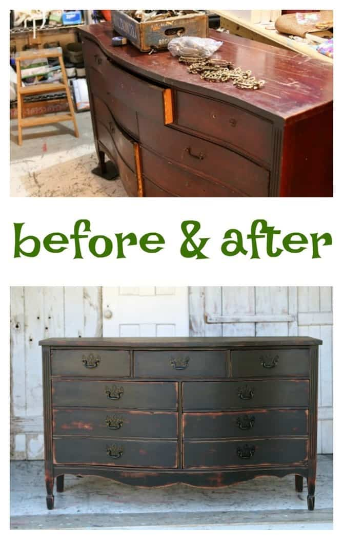 paint furniture black and distress the paint then apply dark wax to raw wood