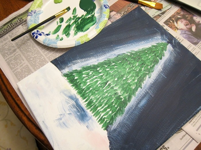 paint progress on Christmas tree
