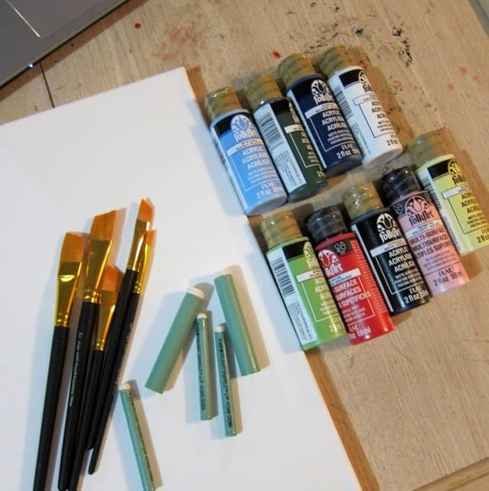 paint supplies for Paint with Plaid Facebook Live