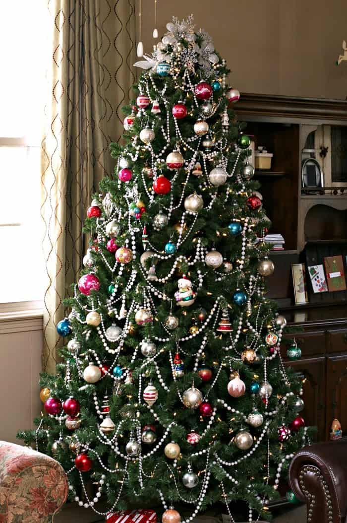 trendtastic Christmas Tree Decorated with Vintage Glass Ornaments