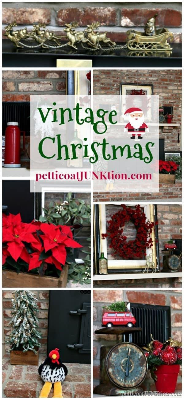 vintage decor for the Christmas mantel
