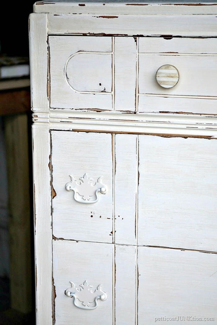 vintage painted furniture updated with new knobs and distressed paint