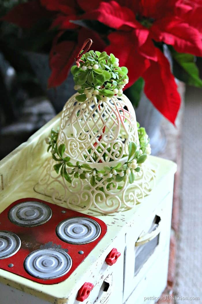 vintage plastic mistletoe bell and childs metal toy oven