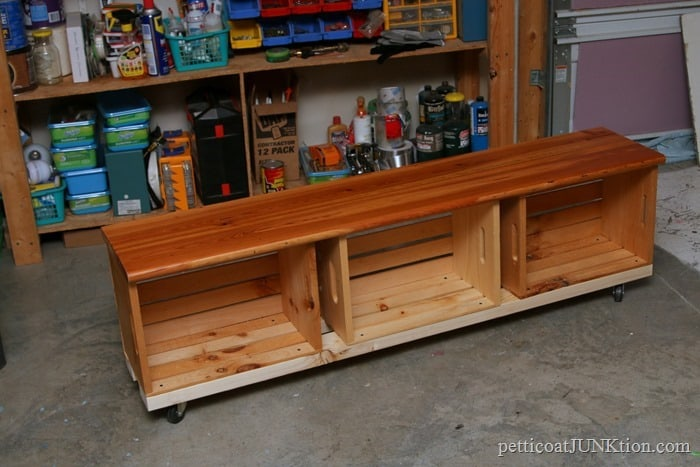 Crate Bench On Wheels