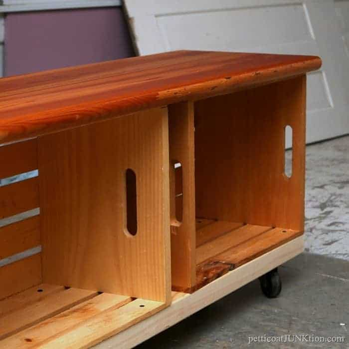 Wood Crate Bench On Wheels